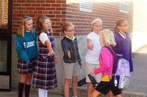 "Elementary school student ""greeters"""