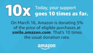 Ten-times the donation for one day only (March 16) on Amazon.com!