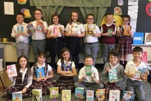 "St. Boniface students receive ""a big batch of books"""